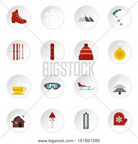 Winter icons set. Flat illustration of 16 winter vector icons for web