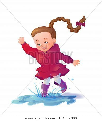 Cute smiling girl jumping in puddle. Funny girl cartoon character having fun and splashing. Vector illustration