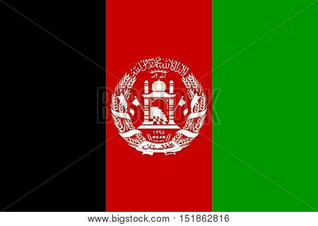 Afghan national official flag. Patriotic symbol banner element background. Accurate dimensions. Flag of Afghanistan in correct size and colors vector illustration