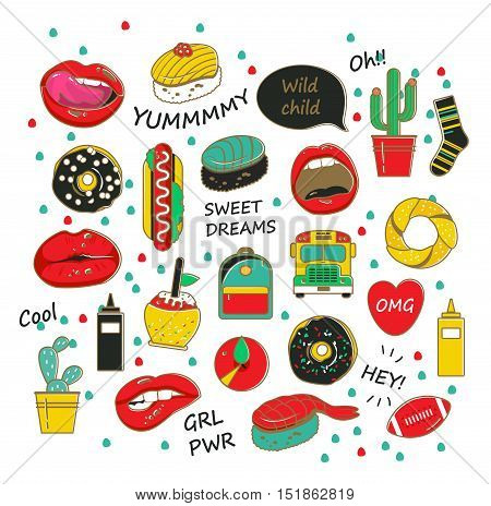 Vector trendy patch badges with the lips, donuts, cacti and other elements for girls.