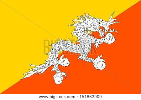 Bhutanese national official flag. Patriotic symbol banner element background. Accurate dimensions. Flag of Bhutan in correct size and colors vector illustration