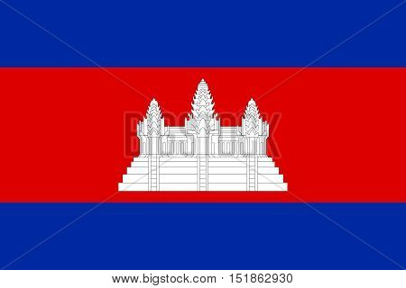Cambodian national official flag. Patriotic symbol banner element background. Accurate dimensions. Flag of Cambodia in correct size and colors vector illustration