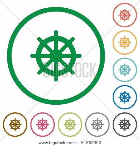 Set of steering wheel color round outlined flat icons on white background