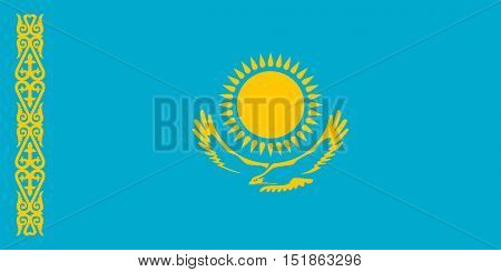 Kazakhstani national official flag. Patriotic symbol banner element background. Accurate dimensions. Flag of Kazakhstan in correct size and colors vector illustration poster
