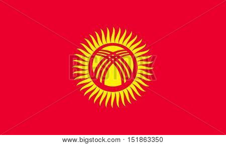 Kyrgyzstani national official flag. Patriotic symbol banner element background. Accurate dimensions. Flag of Kyrgyzstan in correct size and colors vector illustration