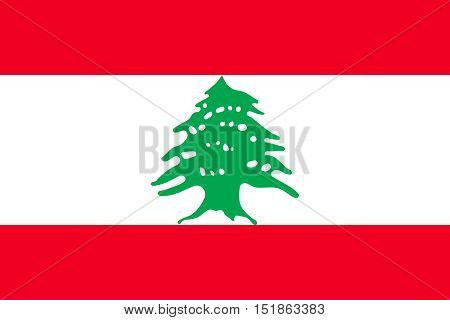 Lebanese national official flag. Patriotic symbol banner element background. Accurate dimensions. Flag of Lebanon in correct size and colors vector illustration