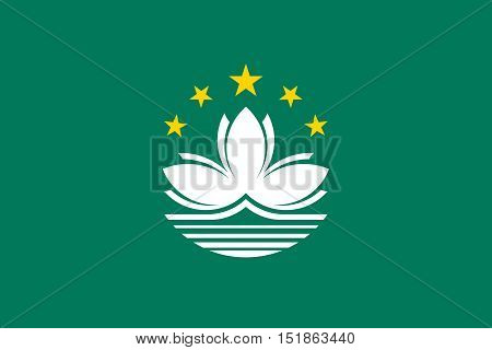 Macanese official flag. Patriotic chinese symbol banner element background. Macau is special region of PRC. Flag of Macau in correct size and colors vector illustration