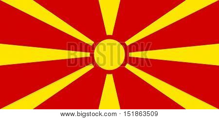 Macedonian national official flag. Patriotic symbol banner element background. Accurate dimensions. Flag of Macedonia in correct size and colors vector illustration