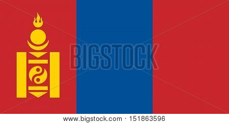 Mongolian national official flag. Patriotic symbol banner element background. Accurate dimensions. Flag of Mongolia in correct size and colors vector illustration