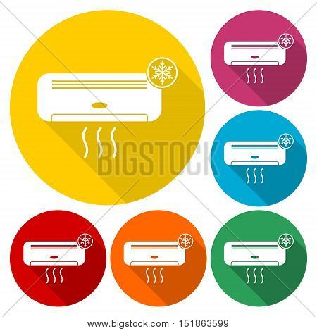 Air conditioner icons set with long shadow