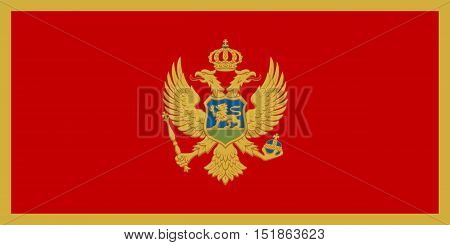 Montenegrin national official flag. Patriotic symbol banner element background. Accurate dimensions. Flag of Montenegro in correct size and colors vector illustration