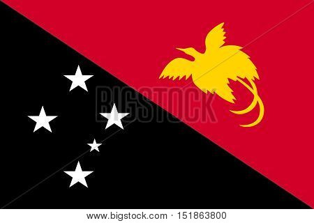 Papua New Guinean national official flag. Papuan patriotic symbol banner element background. Accurate dimensions. Flag of Papua New Guinea in size and colors vector illustration