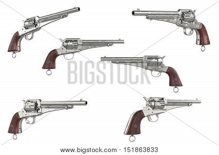 Gun cowboy classical west weapon collection. 3D graphic
