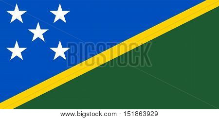 Solomon Island national official flag. Patriotic symbol banner element background. Accurate dimensions. Flag of Solomon Islands in correct size and colors vector illustration