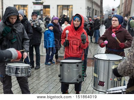 CRACOW POLAND - JANUARY 24 2016: The political demonstration of anarchists on the Main Square in Cracow. Poland