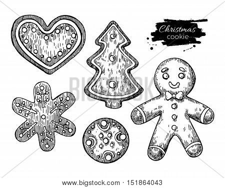 Gingerbread Christmas cookies decorated with icing. Hand drawn vector illustration. Traditional Xmas ginger cookie. Man heart fir tree. Isolated Xmas holiday dessert.