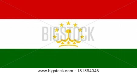 Tajikistani national official flag. Patriotic symbol banner element background. Accurate dimensions. Flag of Tajikistan in correct size and colors vector illustration