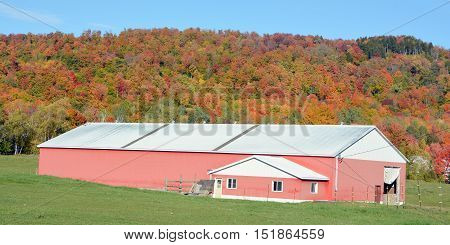 BROMONT QUEBEC CANADA 10 11 2016: Fall landscape farm in country side of Bromont it is in the Brome-Missisquoi Regional County Municipality