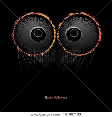 Halloween Monster vector black background. Spider eyes