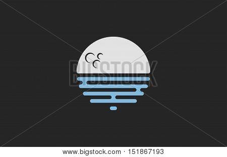 Moon logo design. Creative moon logo. Night logo. Blue moon.