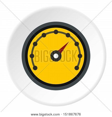 Speedometer with dot notation icon. Flat illustration of speedometer with dot notation vector icon for web