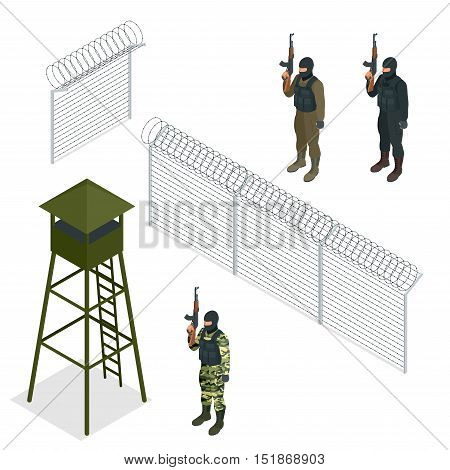 Isometric Security with a barbed wire fence. Soldier, officer