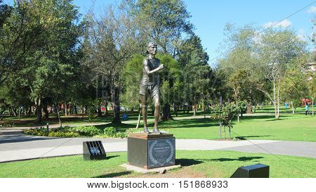 Quito, Pichincha / Ecuador - October 15 2016: Sculpture of Jefferson Perez located in the La Carolina Park. He has won the only two medals his country has ever achieved in the Olympic Games
