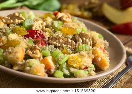 Quinoa Waldorf Salad with apple celery yellow raisins and walnut served on plate ingredients in the back photographed with natural light (Selective Focus Focus in the middle of the salad)