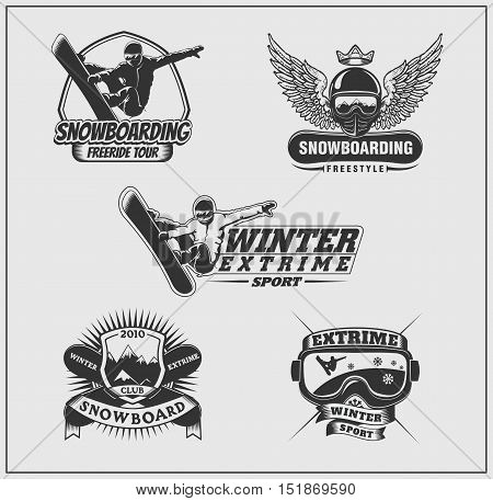 Collection of snowboarding labels, emblems, badges and silhouettes of snowboarders.