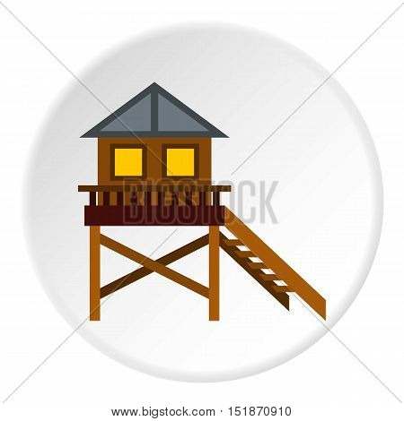 Rescue booth on beach icon. Flat illustration of rescue booth on beach vector icon for web