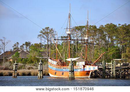Antique ship Elizabeth II in Roanoke Island Festival Park, Roanoke Island, Outer banks, North Carolina, USA.