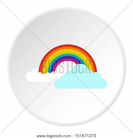 Clouds and rainbow icon. Flat illustration of clouds and rainbow vector icon for web