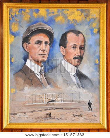 NORTH CAROLINA, USA - MAY 6, 2012: Portrait of Wright Brothers in Wright Brothers National Memorial Museum in Kill Devil Hills, North Carolina, USA.