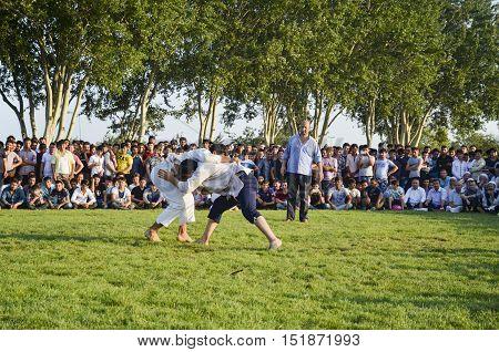 Istanbul Turkey - July 31 2016: Central Asian Turkmen wrestling. in Zeytinburnu district of Istanbul Turkmen wrestling sports events held in the coastal meadows.