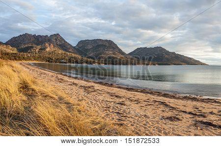 The Hazards Mountain Range From Coles Bay, Tasmania.