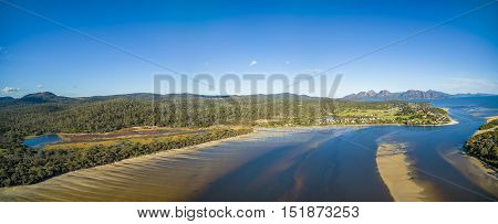 Aerial Panorama Of Coles Bay And The Hazards, Tasmania.