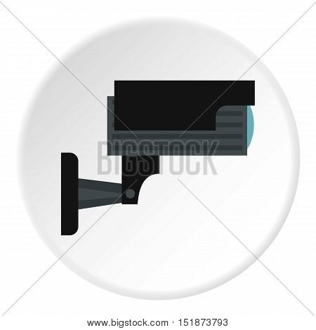 Surveillance camera icon. Flat illustration of surveillance camera vector icon for web