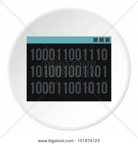 Binary code on screen icon. Flat illustration of binary code on screen vector icon for web
