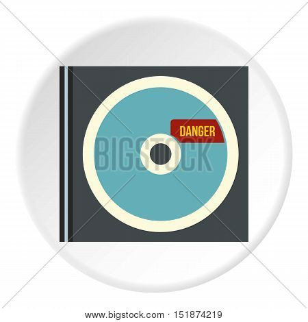 Disk with virus icon. Flat illustration of disk with virus vector icon for web