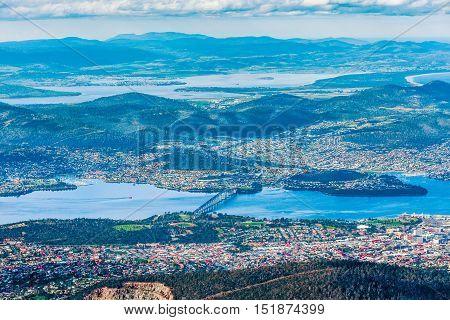 Aerial View Of Tasman Bridge And Hobart, Tasmania