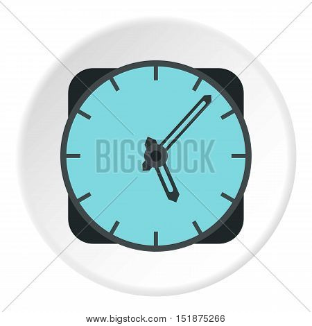 Wall mounted round clock icon. Flat illustration of wall mounted round clock vector icon for web