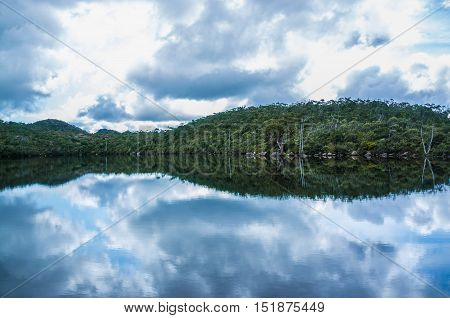 Calm Reflections On Lake Dobson At Mount Field National Park, Tasmania