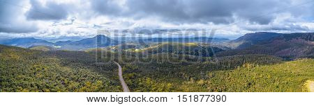 Aerial Panorama Of Mountains And Forest Above Highland Lakes Road, Liffey, Tasmania