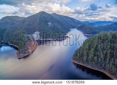 Beautiful Cethana Lake Aerial View. Cethana, Tasmania