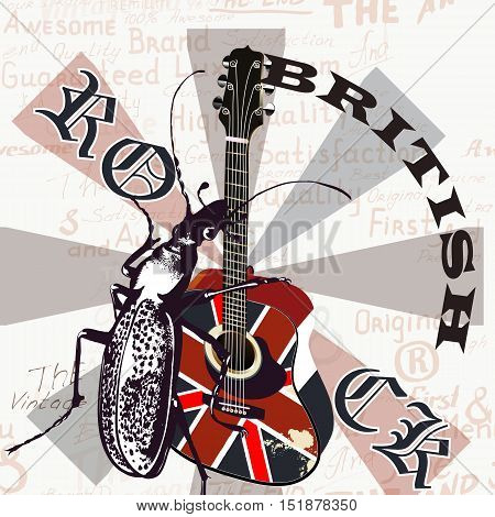 Music creative grunge flyer with GB flag and acoustic guitar
