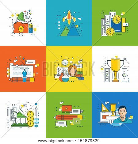 Concept of creative process and innovation, startup, payment methods, graphic design, research, training success, video communication, savings protection, success in learning. Vector illustration.