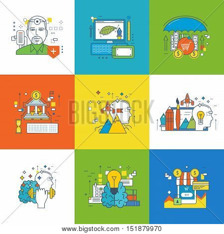Concept of insurance, internet banking and marketing, graphic design, creation, start up, innovation, creative process, motivation, advances in training, education businessman Vector illustration