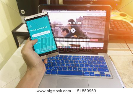 Close Up Android Device Showing Airbnb Application On The Screen. Airbnb Is A Website For People To