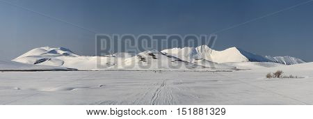 mountains and valleys of the central part of the Bering Island in winter