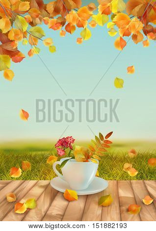 Vector autumn day natural background with cup flowers fall leaves textured wooden floor against blue sky